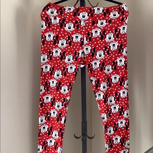 Lularoe red Minnie Mouse leggings Size TC